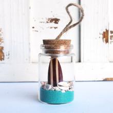 Brown Surfboard Beach Bottle Ornament with Ocean Blue Sand