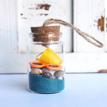 Beach Bucket Bottle Ornament with Turquoise Sand