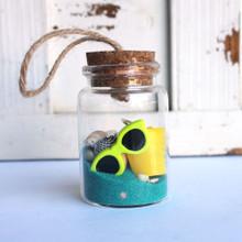 Beach Bucket Bottle Ornament with Ocean Sand