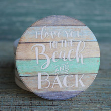I love you to the beach and back stripes coaster