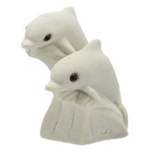 Twin Baby Dolphin Sand Figurine - White