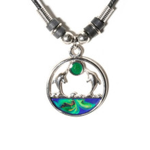 Dolphins Jumping Mood Necklace