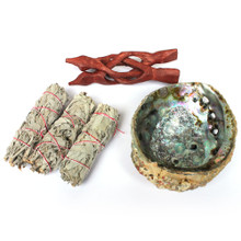 "6"" Pink Abalone Smudge Kit"