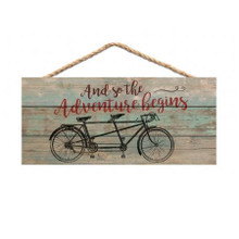 Adventure Begins Bicycle Sign