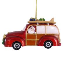 Santa Beach Woody Ornament