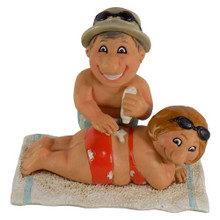 Sunblock Beach Couple Figurines