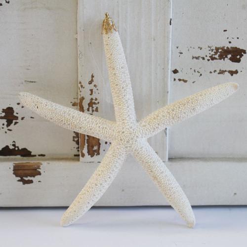 Large White Finger Starfish Glitter Ornament - Made in Huntington Beach, California, USA