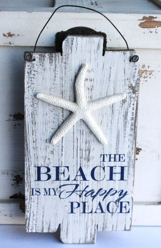 The Beach Is My Happy Place Wood Plank Sign Coastal