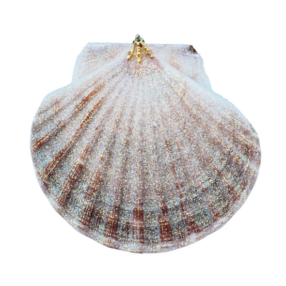 Large Irish Flat Glitter Seashell Ornament