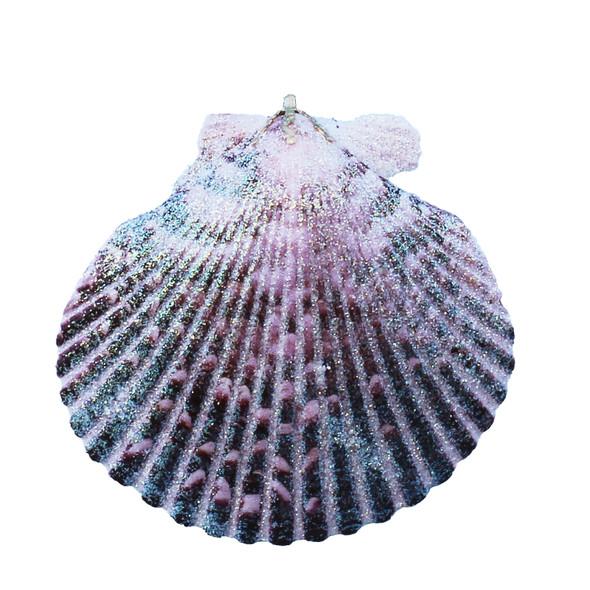 Small Purple Pectin Glitter Christmas Ornament