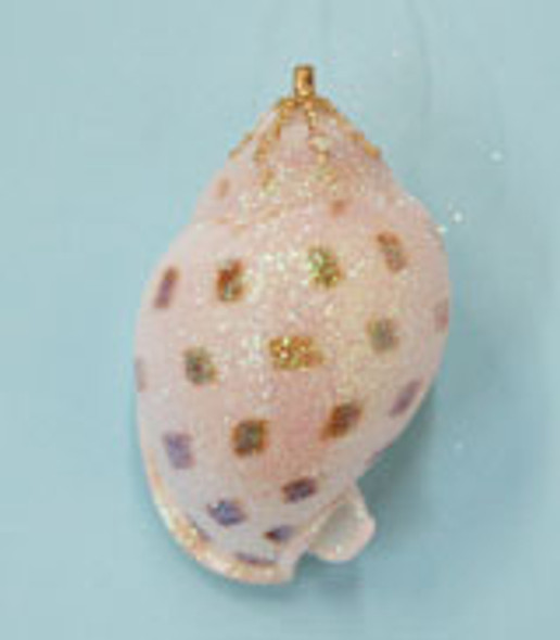 Small Spotted Bonnet Shell Glitter Christmas Ornament - Handmade in Huntington Beach, California, USA