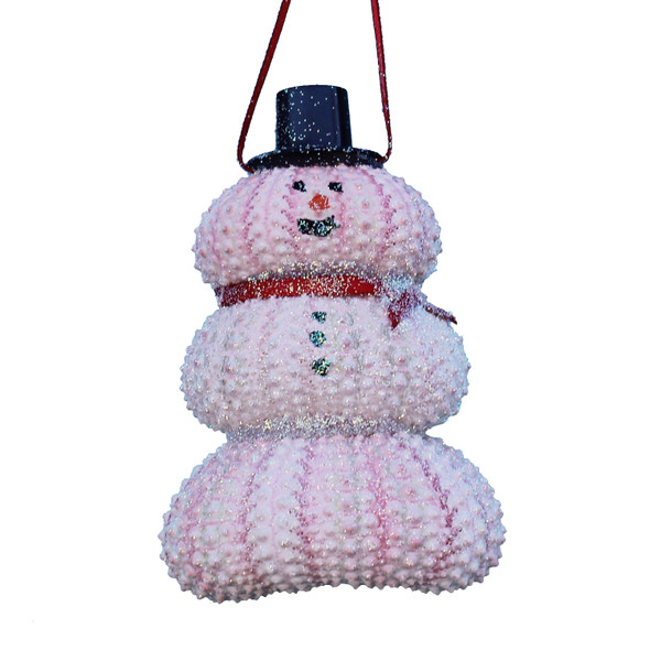 Pink Sea Urchin Snowman Ornament