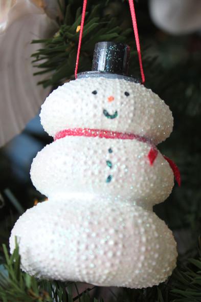 White Sea Urchin Snowman Christmas Ornament