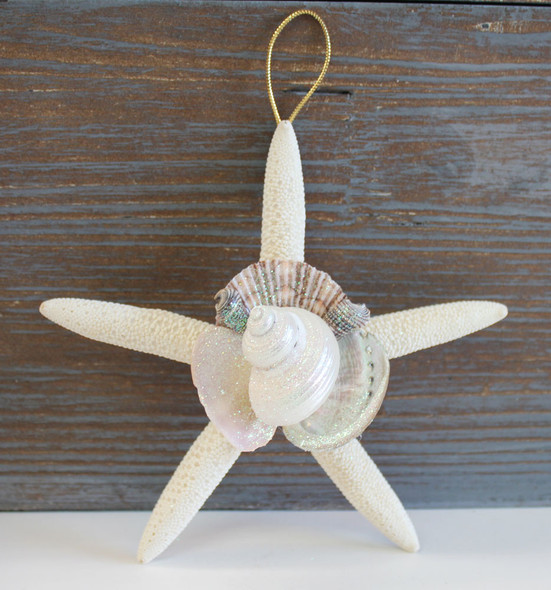 Hand-Crafted White Finger Starfish Collage Ornament