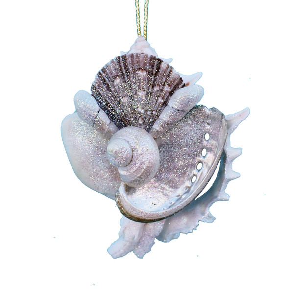 Hand-Crafted Sliced Pink Murex Shell Collage Ornament
