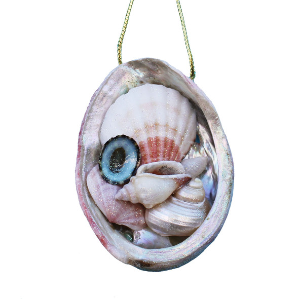 Abalone Shell Collage Christmas Ornament