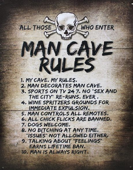 Man Cave Rules Metal Sign