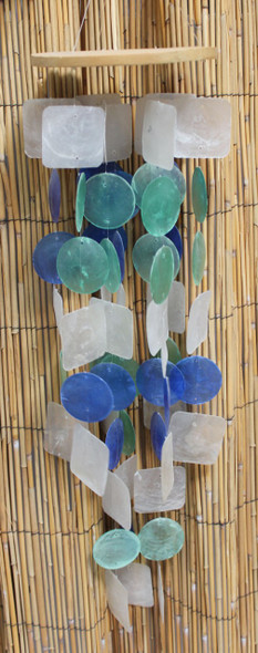 Blue, Aqua & White Capiz Shell Chimes