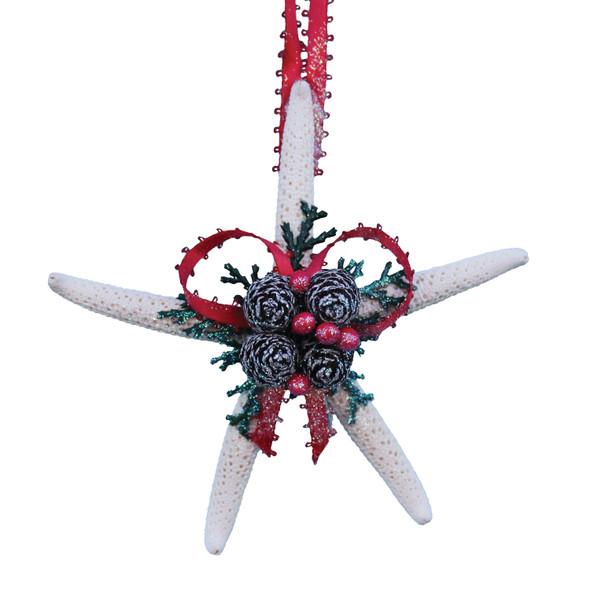 White Finger Starfish Pinecone Christmas Ornament