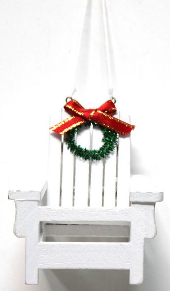 White Wood Adirondack Beach Chair Ornament