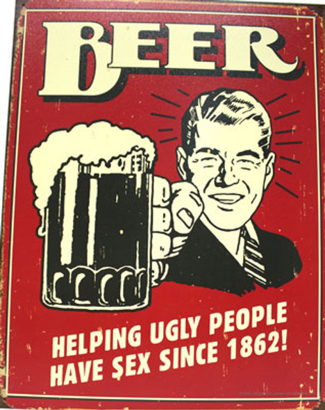 Beer Ugly People Metal Sign