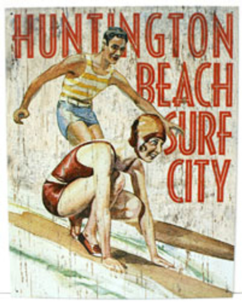 Huntington Beach Surf City Metal Sign