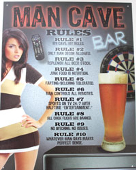 Man Cave Rules! Metal Sign