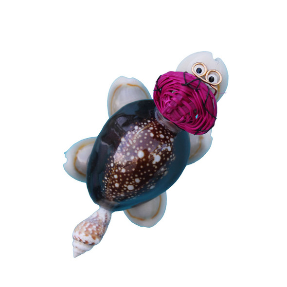 Turtle with Pink Hat Magnet