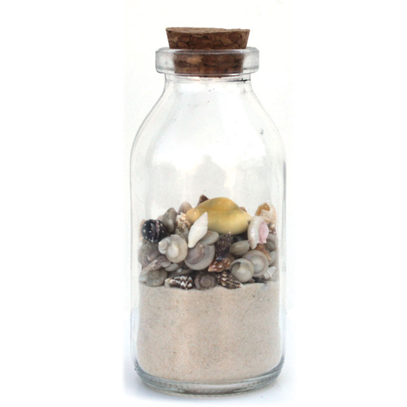 Shell-Filled Bottles with White Sand