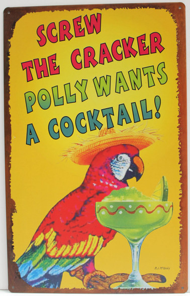 Polly Wants a Cocktail Metal Sign
