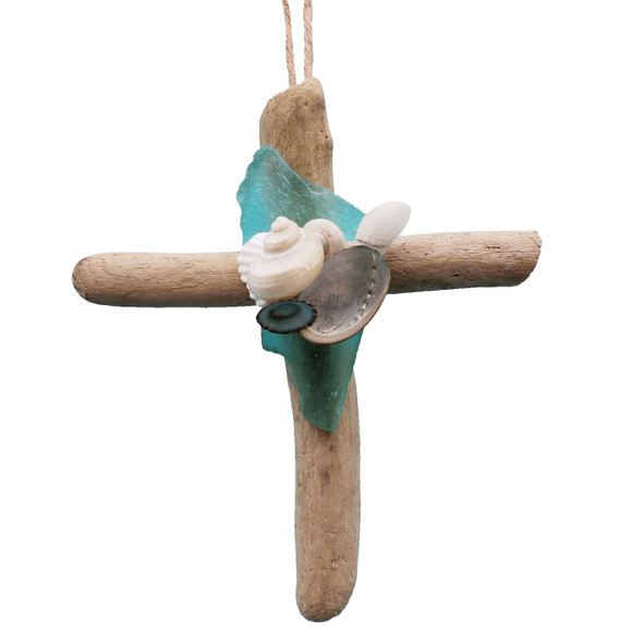 Driftwood Cross with Turquoise Sea Glass