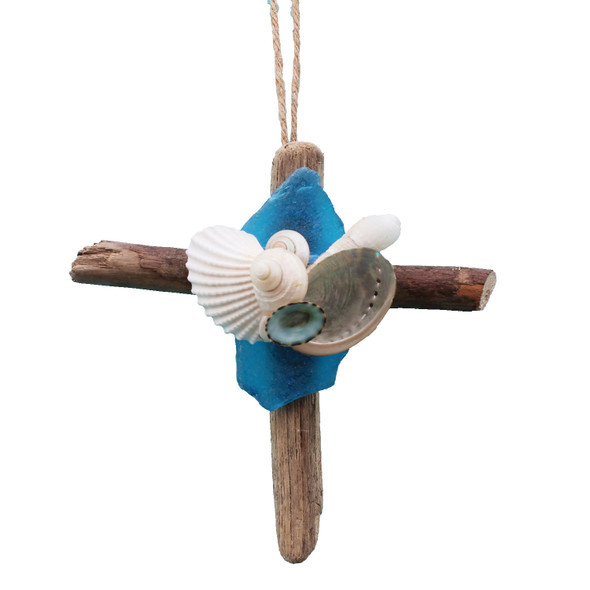 Driftwood Cross Ornament with Light Blue Sea Glass