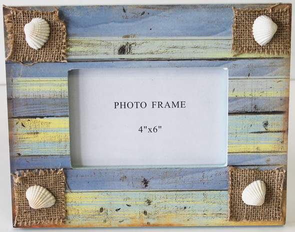 Coastal Frame with Burlap and Shells