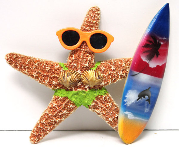 Surfer Girl Starfish Magnet with Green Bikini & Surfboard