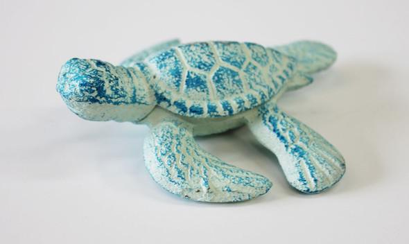 Small Iron Blue Sea Turtle Figure
