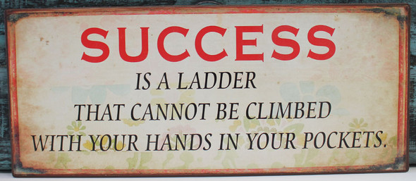 """Success is a ladder that cannot be climbed with your hands in your pockets"""