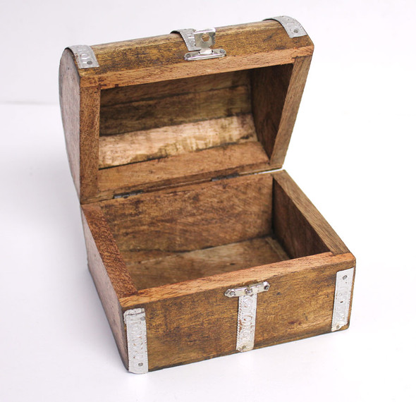 Medium Wood Treasure Chest Box - 4""