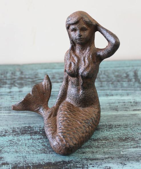 Small Brown Iron Mermaid Statue