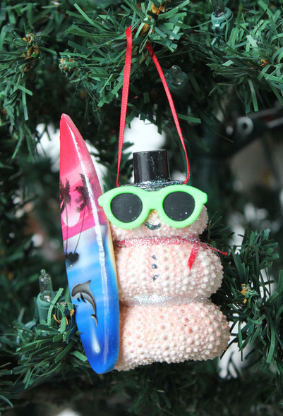 Pink Urchin Surfer Ornament