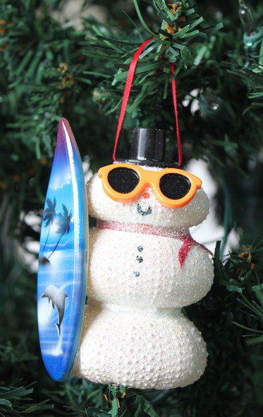 Surfer White Sea Urchin Snowman Ornament