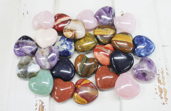 30mm Semi-Precious Stone Hearts - 25 Pieces