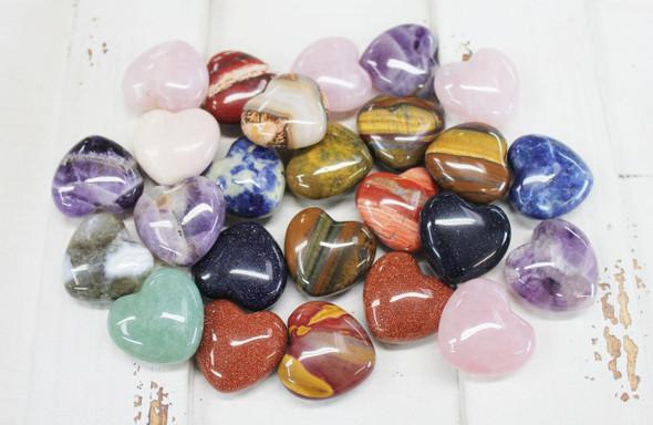 30mm Semi-Precious Stone Hearts - 25 Pieces