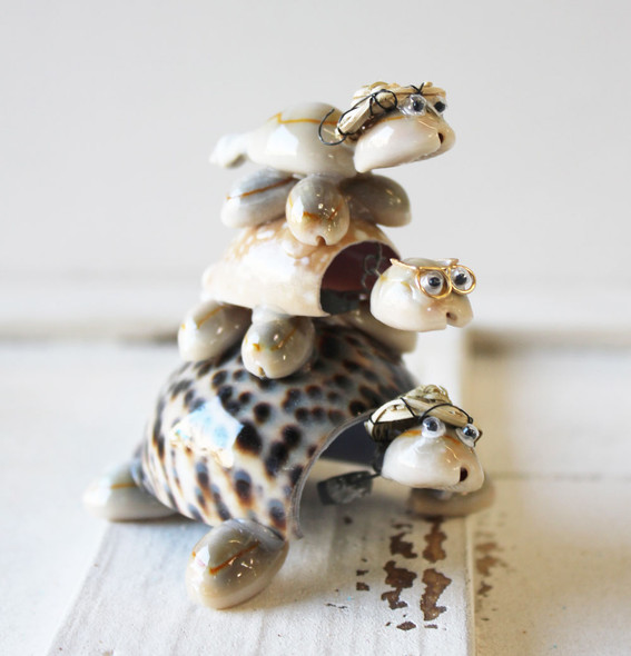 Triple Stack Seashell Turtles
