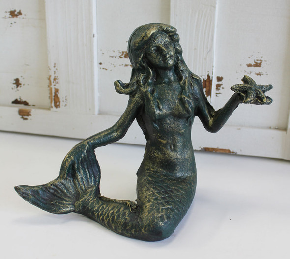 Green Mermaid with Starfish