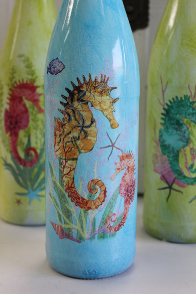 Seahorse Glass Bottles - Set of 4