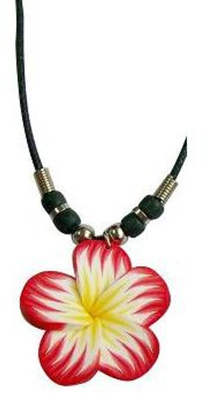 Red Plumeria Flower Cord Necklace