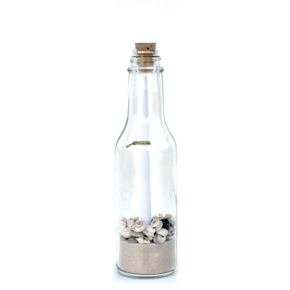 Small White Sand White Shells Message in a Bottle - 1 Dozen