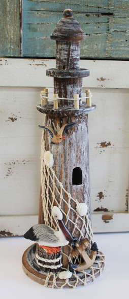 Wood Lighthouse with Pelican