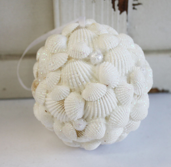White Glitter Shell Ball Ornament