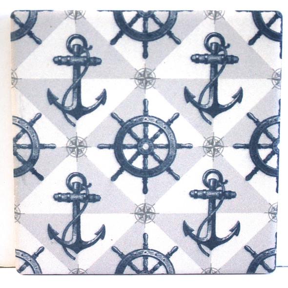 Ships Wheel & Anchor coaster